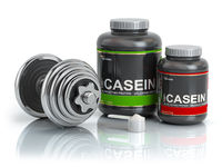 Casein protein with scoop and dumbbell.Bodybuilder nutrition(supplement) concept.