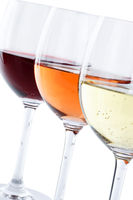 Wein Gläser Weingläser Weißwein Rotwein Rose Hochformat freigestellt Freisteller