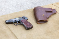 Soviet Makarov army handgun and holster