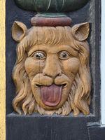 Goslar - Neidkopf, Schnitzerei an einem Fachwerkhaus, Deutschland
