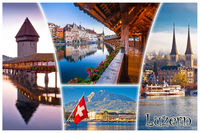 Swiss town of Luzern or Lucerne landmarks tourist postcard view with label