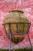 Antique Huge Ceramic Jar Placed on a Forged Pedestal