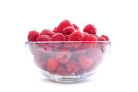 Raspberries in Bowl Isolated