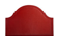 Red soft velvet bed headboard isolated on white