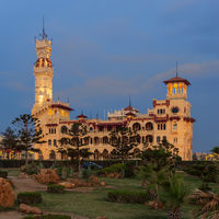 Royal palace at Montaza public park after sunset, Alexandria, Egypt