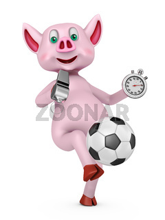Piglet with soccer ball