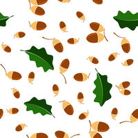 Ripe Acorn Seamless Pattern. Autumn Oak Nut and Leaves Texture