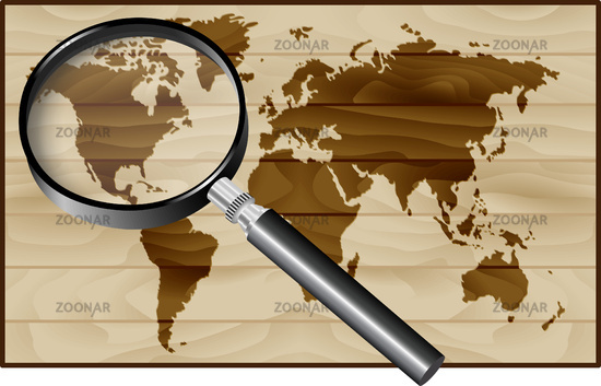 Magnifier and World Map on wood background