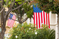 Front Porches with American Flags.