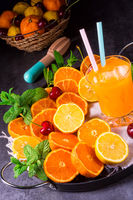 freshly squeezed orange juice with ice in glass