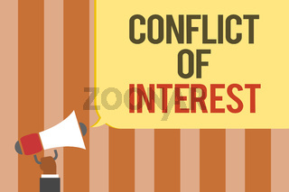 Writing note showing Conflict Of Interest. Business photo showcasing disagreeing with someone about goals or targets Multiline text board typing make announcement declare messages idea.