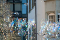 some soap bubbles outdoors