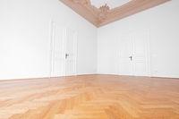 beautiful herringbone parquet floor in empty room , old building wooden floor -