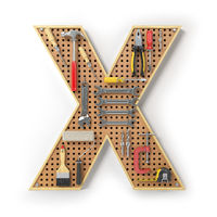 Letter X. Alphabet from the tools on the metal pegboard isolated on white.