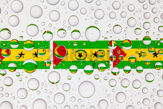 Water drops on glass and flags of Sao Tome and Principe