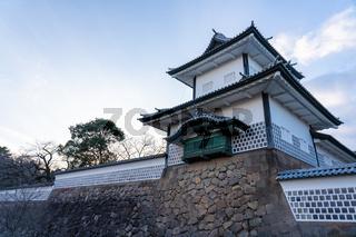 Sunset at Kanazawa Castle in Kanazawa, Ishikawa Prefecture, Japan