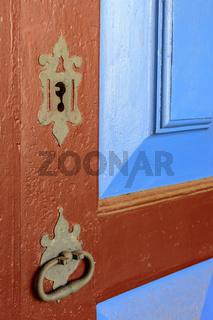 Old wooden farm door
