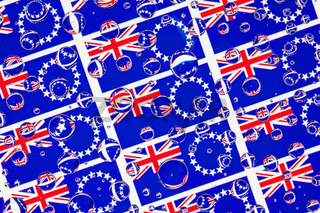 Rain drops full of Cook Islands flags
