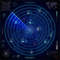 Bright military radar display with with planes traces and target signs on blue background