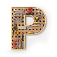 Letter P. Alphabet from the tools on the metal pegboard isolated on white.