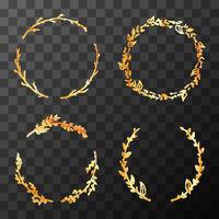 Set of cute golden detailed flower wreaths on transparent background
