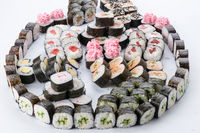 Japanese food restaurant, sushi maki gunkan roll plate or platter set. Sushi set and composition