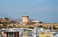 Moored boats in the El Campello harbor. Alicante. Spain