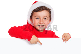 Kind Weihnachtsmann Nikolaus Weihnachten lachen zeigen Schild Textfreiraum Copyspace