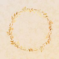 Golden detailed leaves wreath on beige paper