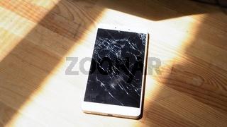 Xiaomi MI Max broken phone with shining fractures