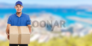 Parcel delivery service box package order delivering job young latin man banner copyspace copy space