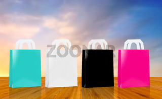 many shopping bags over sky background