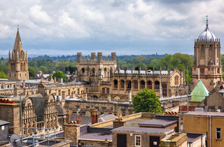 Christ Church as seen from the top of Carfax Tower. Oxford University. England