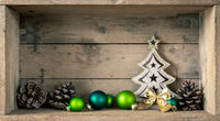 Christmas symbols decoration green glass balls and fir tree