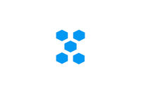 Blue Decahedron. blue geometric figure on a white background