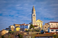 Town of Visnjan on green istrian hill view