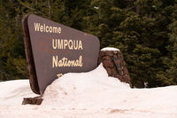The Snow Covered Sign Says Welcome to Umpqua Nationa Forest