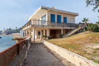 External shot of an old house by the Mediterranean Sea at Montaza park, known as the villa of Mrs Jehan Sadat widow of Anwar Sadat, late president of Egypt, Alexandria, Egypt