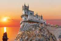 Swallow Nest castle in Crimea, beautiful sunset view