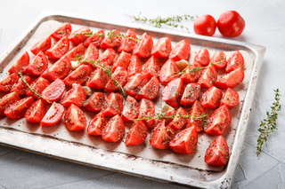 Tomatoes in baking tray