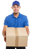 Parcel delivery service box package order delivering job young latin man isolated on white
