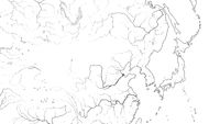 World Map of FAR EAST REGION: Japan, Korea, China, Siberia, Yakutia, Mongolia, Dzungaria. (Geographic chart).