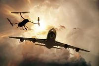 Drone flying near commercial airplane, danger of collision