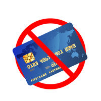 Credit cards are not allowed, red forbidden sign on white