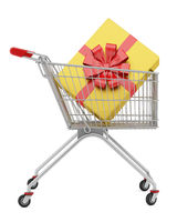shopping cart with gift box isolated on white background. 3d illustration