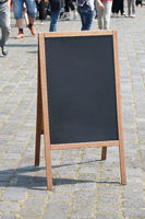 blank blackboard chalkboard advertising a-frame sign or customer stopper