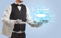 Waiter serving cloud technology concept