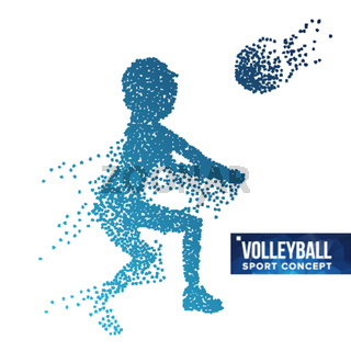 Volleyball Player Silhouette Vector. Grunge Halftone Dots. Dynamic Volleyball Athlete In Action. Dotted Particles. Sport Banner, Game, Event Concept. Isolated Abstract Illustration