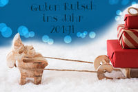 Reindeer On Blue Background, Guten Rutsch 2019 Means New Year
