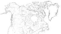 World Map of CANADA and NORTH AMERICA REGION: America, Canada, Greenland, Alaska. (Geographic chart).